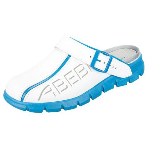 Abeba Clog OB SRC Leder weiß / blau