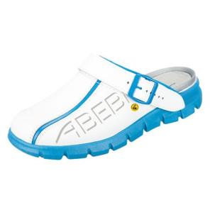 Abeba Clog OB ESD SRC Leder weiß / blau